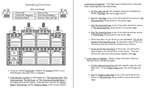 Charlie and the Chocolate Factory Project Directions Worksheets