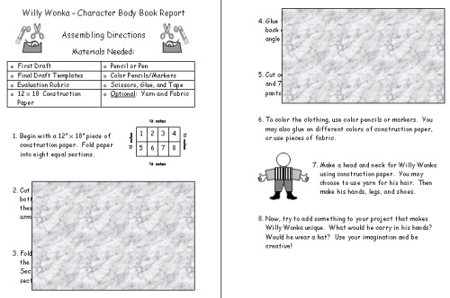 Charlie and the Chocolate Factory Main Character Project Directions