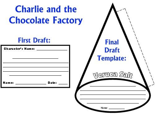 Character Wheel Projects Charlie and the Chocolate Factory First Draft Worksheets