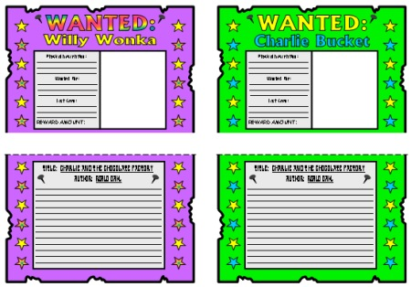 Charlie and the Chocolate Factory Willy Wonka and Charlie Bucket Wanted Posters