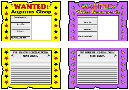 Charlie and the Chocolate Factory Augustus Gloop and Violet Beauregarde Wanted Posters