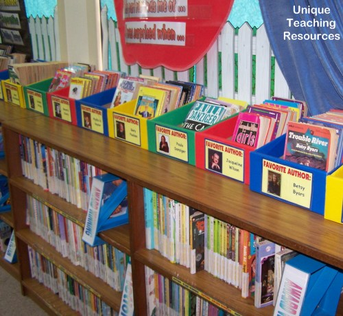 Classroom library display of favorite and popular authors for children
