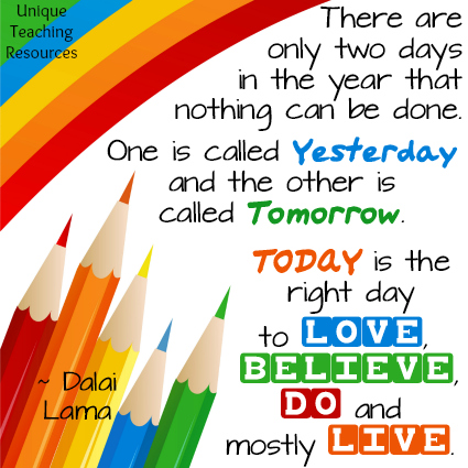 Dalai Lama Inspirational Quote About Yesterday, Tomorrow, and Today