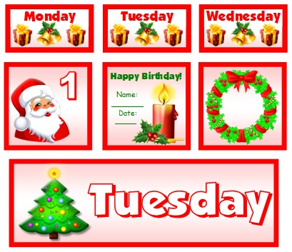 December and Christmas Calendar Set For Elementary School Teachers Using Pocket Charts