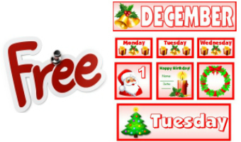 Free Download For December Classroom Calendar Set