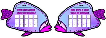 Free Dive Into Learning Fish Shaped Sticker Charts