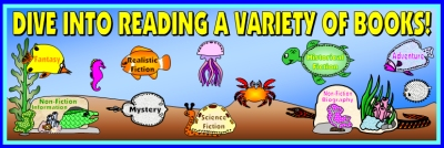 Dive Into Reading a Variety of Books Bulletin Board Display