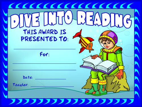 Free Dive Into Reading Award Certificate
