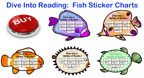 Dive Into Reading Fun Fish Sticker Charts For Elementary School Students