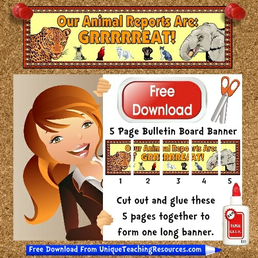 Download Free Animal Reports Bulletin Board Display Banner.