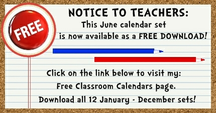 Click here to download my FREE June pocket chart classroom calendar set.