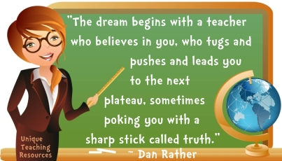 Dream begins with a teacher - Dan Rather quote