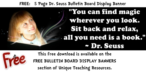 Dr Seuss Free Reading Bulletin Board Display Banner For Teachers To Download.