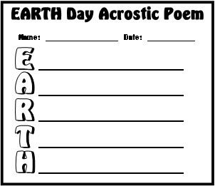 Earth Day April 22 Acrostic Poem Worksheet