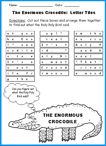 The Enormous Crocodile Letter Tiles Fun Puzzles and Worksheets Roald Dahl