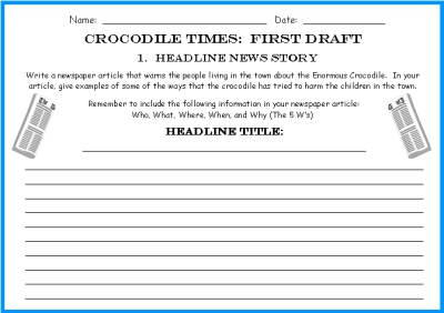 Student Newspaper Writing First Draft Worksheets The Enormous Crocodile