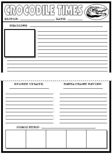 Roald Dahl Newspaper Creative Writing Templates Enormous Crocodile