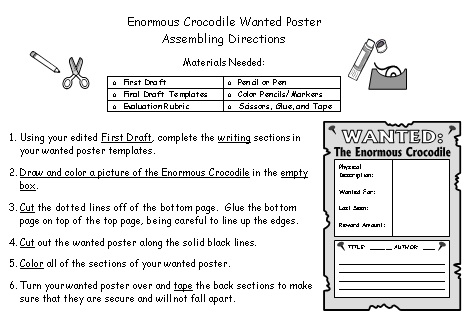 Enormous Crocodile Wanted Poster Project Assembling Directions