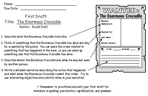 Enormous Crocodile Wanted Poster Project First Draft Printable Workswheets