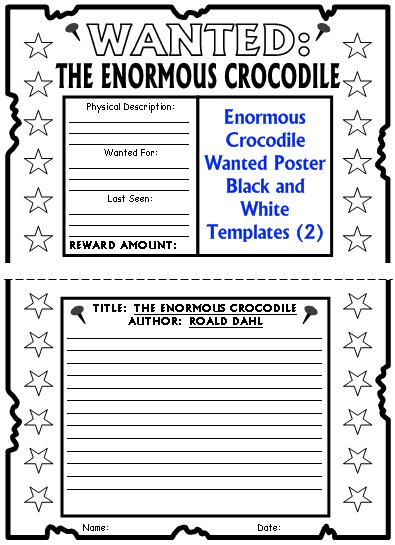 Enormous Crocodile Roald Dahl Wanted Poster Project Templates
