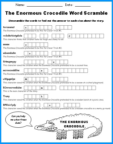 Enormous Crocodile Word Scramble Puzzles Printable Worksheets Roald Dahl