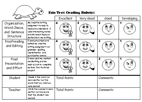 Esio Trot Creative Writing Grading and Evaluation Rubric Worksheet Roald Dahl