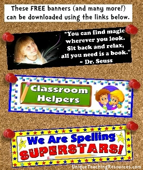 Download free bulletin board display banners for elementary school teachers and their classrooms below on this page.