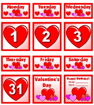 February Printable Pocket Chart Classroom Calendar For School Teachers