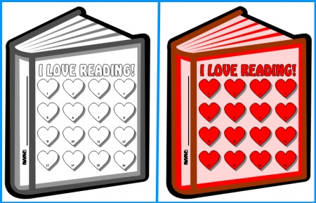 I Love Reading Valentine's Day Sticker Charts