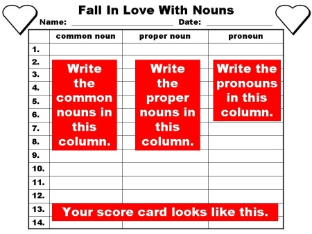 Student Answer Sheet for Valentine's Noun Powerpoint