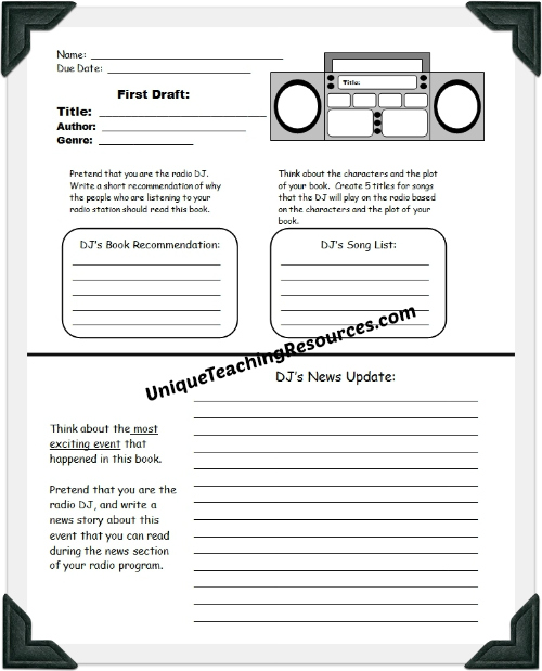 Radio Book Report Project: templates, printable worksheets, and ...