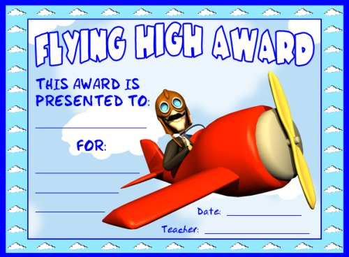 Flying High Achievement Award Certificate