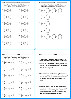 Fraction Bar Worksheets
