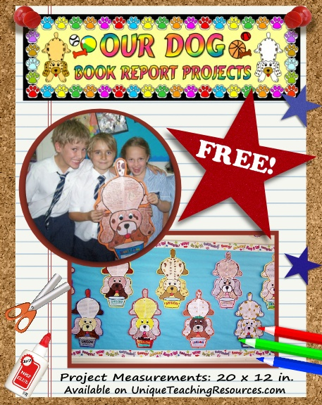 Download this free book report project - fun dog templates
