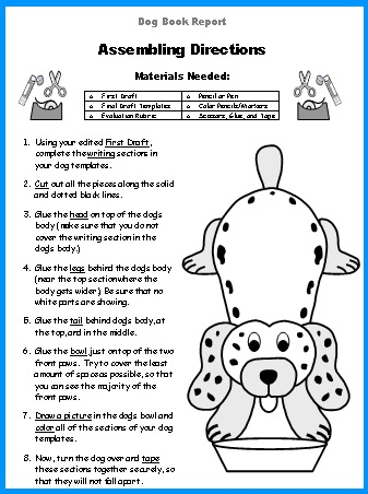 Free Book Report Project Worksheets