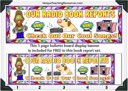 Free Classroom Bulletin Board Display Banner - Radio Book Report Projects
