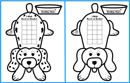 Free Sticker Chart Templates: Dog Shaped Reading Sticker Charts