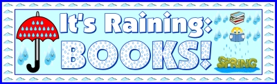 Free April Umbrella Sticker Chart Banner  - It's Raining Books