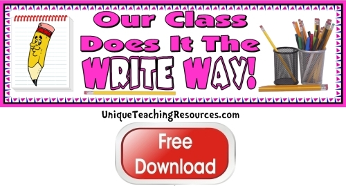 Click here to download this free creative writing bulletin board display banner for your classroom