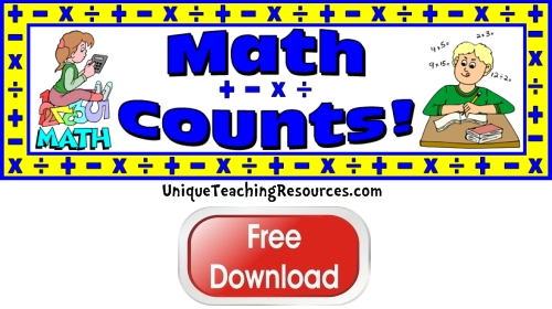 Click here to download this free math bulletin board display banner for your classroom.