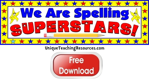 Click here to download this free Spelling Superstars bulletin board display banner for your classroom.