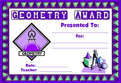 Free Geometry Math Award Certificate For Students