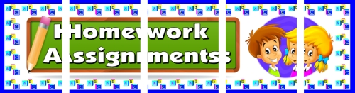 Assemble these 5 pages together to create a free homework assignments bulletin board display banner.