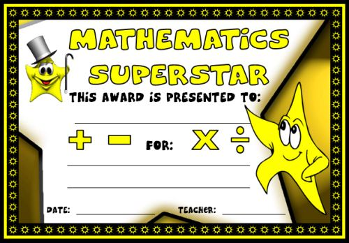 Free Math Superstar Award Certificate For Elementary School Students