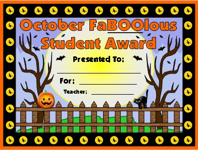 Free Halloween and October Award For Elementary School Students