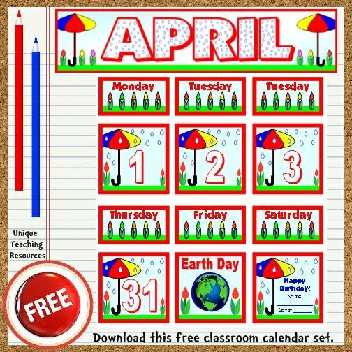 Classroom Calendar Set : Free printable april classroom calendar for school teachers