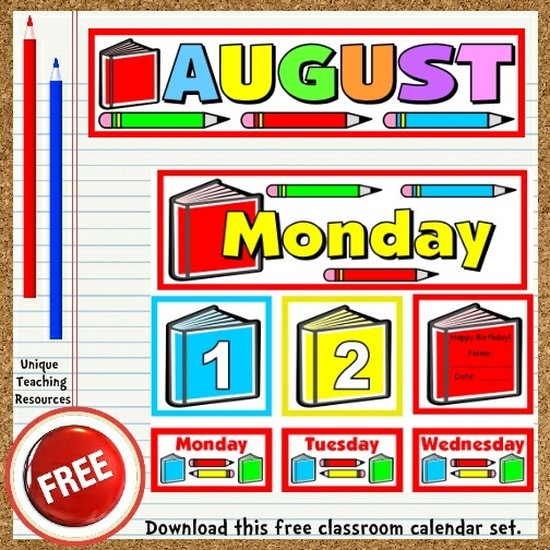 Download this free August calendar set from Unique Teaching Resources.  Perfect for pocket charts!