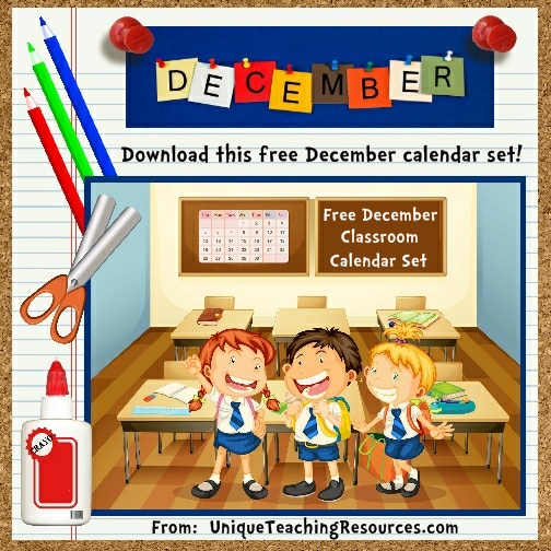 Free Printable December Classroom Calendar For School Teachers