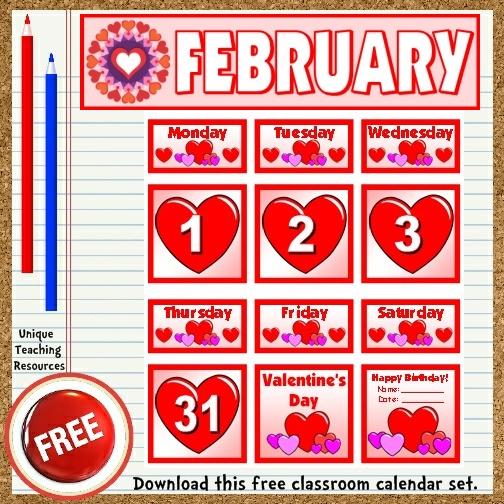 Calendar Bulletin Board Printables : Free printable february classroom calendar for school teachers