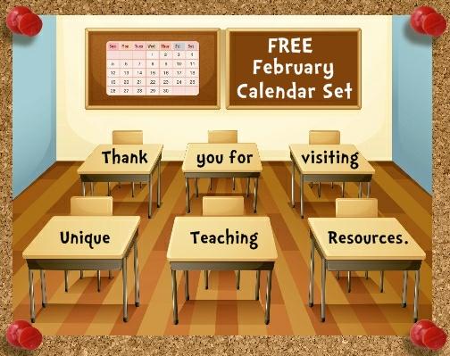 Classroom Calendar Set : Free printable february classroom calendar for school teachers